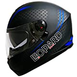 Leopard Sabre LEO-808 Integralhelm, Doppeltes Sonnenvisir, matt-schwarz/blau, Gr. L