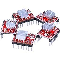 Redrex 5Pcs A4988 Stepstick Stepper Motor Driver Modulo Con Dissipatore di Calore per Reprap Stampante 3D Elettronica CNC Macchina o Robotica