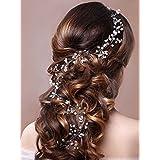 Oreillette Aukmla Bijoux avec bandeau Cristal, mode et accessoires cheveux pour les femmes et les filles (Argent)