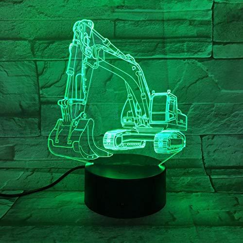 wangZJ Kreative Lampe des Nachtlicht-3d / 7 Farbänderungs-geführtes Noten-USB/Kinder spielt Geschenk/Valentinsgruß-Geschenk-Geburtstags-Geschenk/Bagger