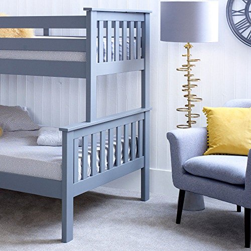 Happy Beds Atlantis Triple Sleeper Bunk Bed Grey Wooden with 2 x Memory Foam Mattresses 3' Single 90 x 190 cm Top and 4' Small Double 120 x 190 cm Bottom