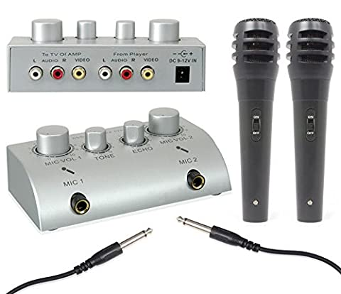 Skytec - Mini pack pour karaoké - Pré-amplificateur ultra compact avec mixage et deux micros main (effet écho, connexion TV ou chaîne HiFi)