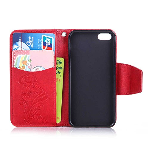 iPhone 5 5S SE Coque, LANDEE PU Leather Bling Bling Gaufrage Etui Housse Flip Case Coque Pour iPhone 5 / iPhone 5S / iPhone SE (5S-P-0612) 5S-P-0602