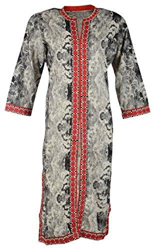Poshak Women's Cotton Achkan Kurta (Grey, X-Large)