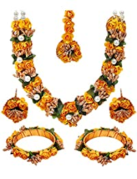 YouBella Jewellery Set for Women Floret Gota Patti Necklace, Earrings, Bangles & Maang Tika for Women & Girls (Mehandi/Haldi)