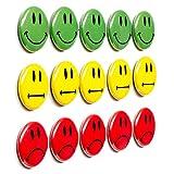 15 bunte Smiley Magnete (Magnetbuttons) / Durchmesser 2,5 cm / z.B. fuer Praesentationen, Schulungen, Projektarbeit, Unterricht..