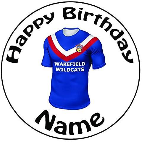 personalisierbar Wakefield Wildkatzen Rugby-Shirt Kuchen Topper–Einem vorgeschnittenen Rund 20,3cm (20cm)