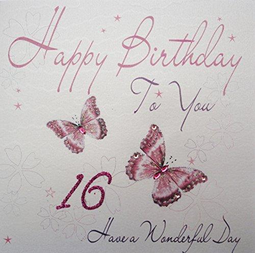 WHITE COTTON CARDS WB 72-40.64 cm Pink Butterfly, Happy Birthday to You, Handgemacht, für den 16. Geburtstag, 40.64 cm, weiß