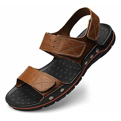 Shangxian estate antiscivolo uomo flip flops casual sandali in pelle (due generi di tees), khaki, 42
