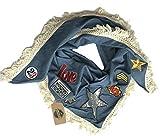 1mal1heldsein Schal Tuch für Damen Dreieckschal Dreieckstuch Damenschal mit Fransen und Patches Star Design Dreieckschal mit Sternen und Love Patches Dreieckstuch mit Army und Eifelturm Aufnäher