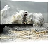 Leuchtturm im Sturm Format: 120x80 auf Leinwand, XXL riesige Bilder fertig gerahmt mit Keilrahmen, Kunstdruck auf Wandbild mit Rahmen, günstiger als Gemälde oder Ölbild, kein Poster oder Plakat