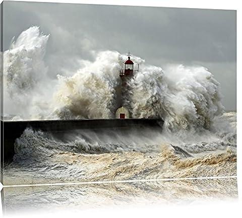 Phare dans la tempête Format: toile 100x70auf, XXL énormes Photos complètement encadrés par la civière, l'impression de l'image Art mural avec cadre, moins cher que peintures à l'huile et de l'image, aucune affiche ou poster