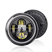 Festnight 12V/24V Motorcycle Car Headlight 7 inches Round LED Driving Lamp Head Lamp Fit for 7 inches Jeep Wrangler, Retro Turn Signal