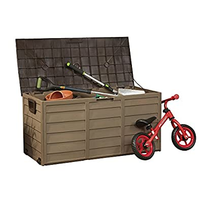 Plastic Garden Storage Box Chest Container, Weatherproof with Durable & Lockable Sit-on Lid - cheap UK light shop.