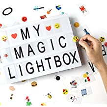 Caja de luz de cine con 170 Letras Cartas, Emojis, Símbolos y un Conector USB, Dreamore DIY A4 LED Caja De Luz Cinematográfica Para El Día De San Valentín, Día De La Madre, Regalo De Cumpleaños