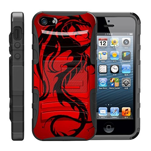 TurtleArmor Schutzhülle für Apple iPhone SE, iPhone 5/5S, Hybrid-Schutzhülle mit Gürtelclip, Ständer, Red Dragon (Mobile-handys Iphone 4 Virgin)