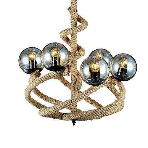 Abgail 6-Lichter Magic Bean Glass Globe Shade Amerikanischen Industrie Kronleuchter Vintage Retro Anhänger Leuchte E27 Edison Einstellbare Decke Pendelleuchte Esszimmer Wohnzimmer