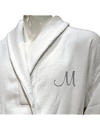 5* Hotel Edición Blanco Waffle/Terry Albornoz de hombre, con carta de plata personalizada, algodón, Blanco, XL