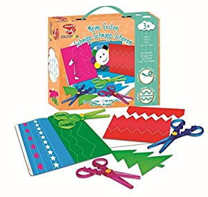 Joustra 41924-Mis Primeros Tijeras de Schnipp Schnapp-Tijeras, contornos Tijeras, Tijeras para niños, 3Tijeras, 1ausschneid Grapadora