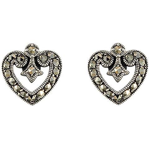 Esse Marcasite-Anello in argento Sterling, con Marcasite-Orecchini