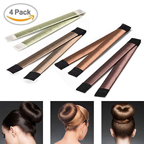 SANSHUREN 4 Stücke Haar Knotenringe Donut Haar Bun Maker Braid Halter Werkzeug Twist Haar Haarschmuck Haar Frisuren Werkzeug für Damen, Mädchen und Anfänger