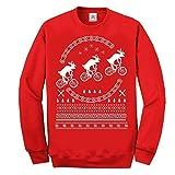 Weihnachten RENTIER auf bike cool langärmelig sweatshirt pulli Lustig Bedruckte Sweatshirts, pullover, Pullover - Rot - Rot, Rot, S