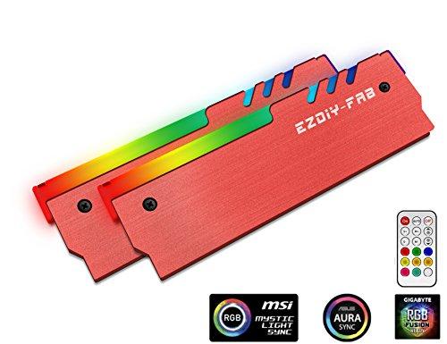 EASYDIY ARGB RAM Kühler mit Controller RGB DDR Speicher Kühlkörper Kühlweste Fin Strahlung für DIY PC(kompatibel mit ASUS Aura Sync, GIGABYTE RGB Fusion und MSI Mystic Light Sync) Rot-2 Pack -