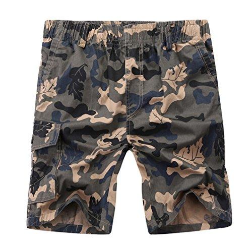 SK Studio Herren Kurze Hose Elastischem Bund Bermuda Shorts Camouflage Baumwolle Cargo Shorts Sommer Gelb XL