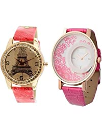 DLG New 2018 Arrival Rose Gold Paris Style Dial Round Shaped Leather Belt And Mxre Pink Round Shapped Dial Leather...
