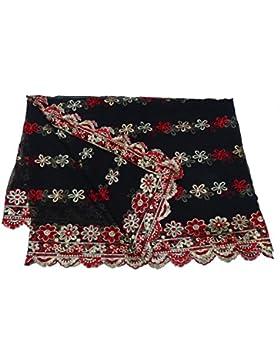 Indio Étnico Dupatta Georgette Tela Mujeres Diseñador Mantón Negro Bollywood Vendimia Larga Estola