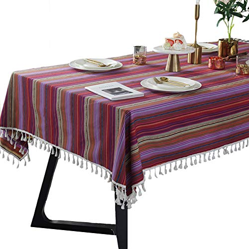 BöHmische Ethnische Tischdecke Rechteck Rainbow Striped Fringe Tischdecke Polyester Tablecover füR KüChe,colorful,90 * 90cm (Vinyl Rainbow Tischdecke)