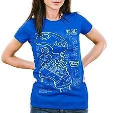 style3 Mega 16-Bit Contrôleur de jeu bleu T-Shirt Femme console de jeux sonic, Couleur:Bleu;Taille:2XL