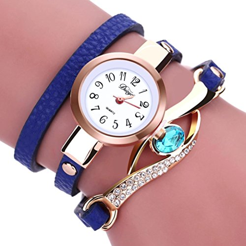 LSAltd Damen Art und Weisediamant-Verpackung um Uhr Lederoid Quarz Armbanduhr (Blau)