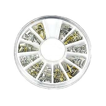 Moonar®300pcs Punk Rivet ongles Conseils Or Argent Stickers Ongle Nail Art DIY Décoration Autocollants