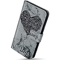 Herbests Handy Hülle für Xiaomi Mi A1 Lederhülle Marmor Liebe Herz Muster Handy Flip Case Bunt Brieftasche Klapphülle Ledertasche Dünn Tasche Handytasche Handy Schutzhülle,Schwarz