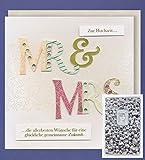 Unbezahlbar Hochzeit Grußkarte MR & MRS mit echten 1g Silberbarren Karte 20x20cm