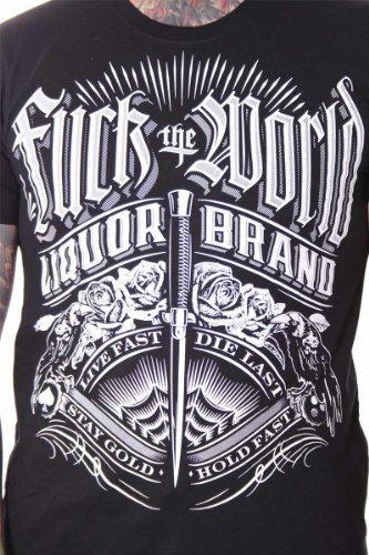 Liquor Brand FUCK THE WORLD T-Shirt Tattoo Rockabilly Schwarz
