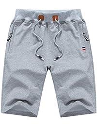 Yuanu Hombre Cómodo Transpirable Tamaño Grande Pantalones Cortos Color Sólido Slim Drawstring Quinto Pantalón