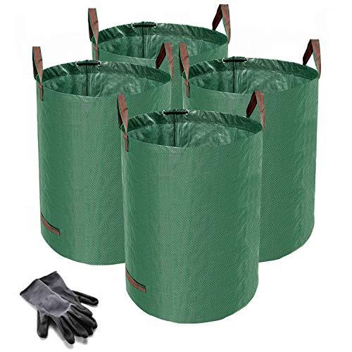 Norjews 4er Set Gartensack, 272L Gartenabfallsack aus robustem Wasserdichtes Polypropylen-Gewebe (PP) - Selbststehend und Faltbar Laubsäcke, inkl. Geschenk 1 Paar Gartenhandschuhe
