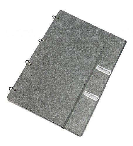 Ringbuch 360° - schiefergrau | A4 | 50 Blatt kariert | 4-Ring Notizbuch mit Gummiband und Taschen, flexibel + nachfüllbar, schiefergrau - Schreibgefühl®