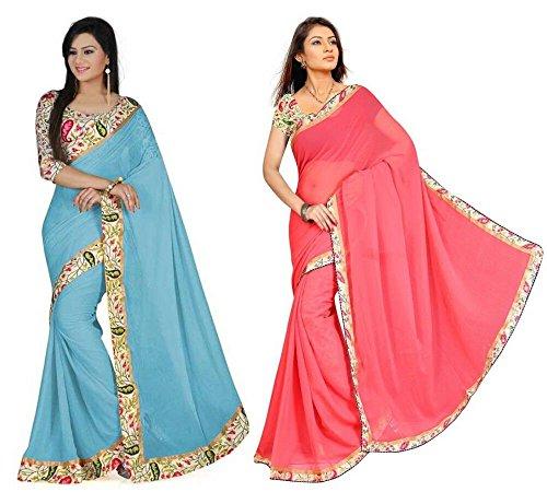Aashi Saree Exclusive Combo Of Plain Chiffon Lacy Border Sarees (Peach And Light Blue)