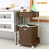 #7: Klaxon Laundry Basket - Plastic Cloth Storage Laundry Basket (Brown)
