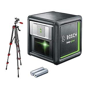 Bosch 0603663C01 Quigo Green Beam Cross Line Laser with Mount and Tripod