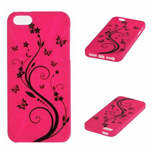Voguecase® für Apple iPhone SE 5 5S 5G hülle, Schutzhülle / Case / Cover / Hülle / TPU Gel Skin (Gelb/Lila Traumfänger) + Gratis Universal Eingabestift Rosa/Schmetterling liebt Blumen 01