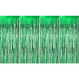 4 Pezzi Tende Orpello Glitter di Lamina Scintilla Tende Frange Metalliche Tende Decorate Sfondo per Forniture di Festa, Verde