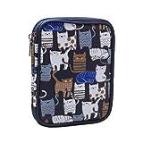 Teamoy Kits de Ganchillo Estuche para Crochet Organizador de Agujas Bolsa de Herramientas Juego del Ganchos (No Incluido ningún Accesorio), Gato Azul