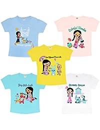 Luke and Lilly Chhota Bheem Fame Chutki Baby Girl Cotton Tshirt - Pack of 5