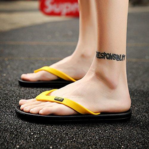 pantoufles hommes, tongs antidérapantes, pieds usure épreuve hommes, loisirs grande plage pantoufles taille Yellow
