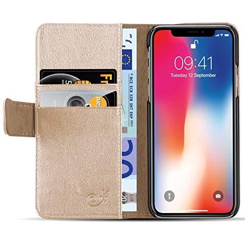 JAMMYLIZARD Lederhülle für iPhone X/Xs | Ledertasche [ Classic Wallet Tasche Series ] Schimmer Leder Book Case Hülle Flip Cover Schutzhülle mit Kartenfach, Antikes Gold