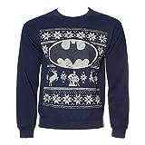 Offizielle Unisex Marineblau DC Heros Batman-Logo Fair Isle Weihnachts Pullover Sweatshirt (XXL)